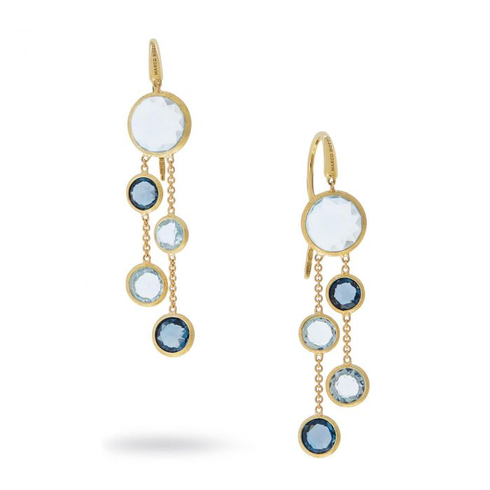1e3d18575dd9b0 Marco Bicego Jaipur Yellow Gold and Mixed Blue Topaz Dangle Earrings |  REEDS Jewelers