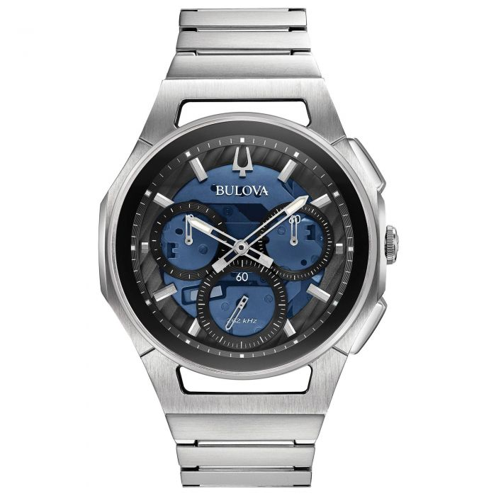 e0b95d1af Men's Bulova CURV Chronograph Stainless Steel Blue Dial Watch 96A205 |  REEDS Jewelers