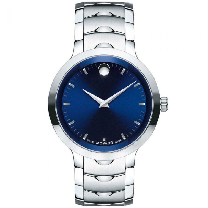 Men S Movado Luno Blue Dial Stainless Steel Watch 0607042