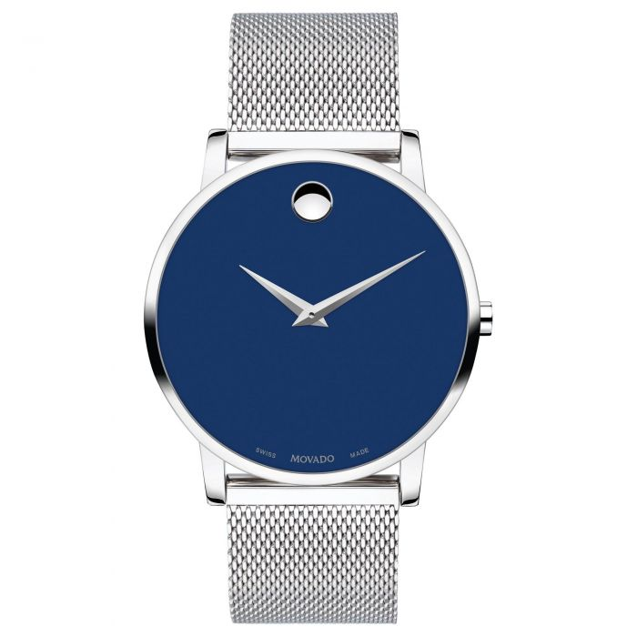 Men S Movado Museum Classic Blue Dial Mesh Stainless Steel Watch 0607349