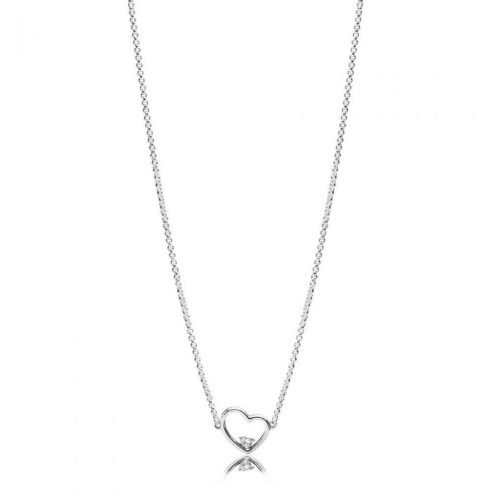 92d5e0b5e PANDORA Asymmetric Heart of Love Necklace, Clear Cubic Zirconia | REEDS  Jewelers