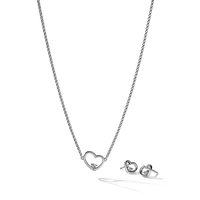 Arrow Pendant Necklace Heart Shape Cubic Zirconia Tip Sterling Silver Necklace