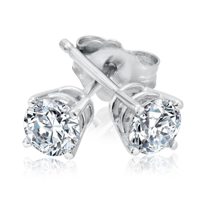 6b0ed27655d9d Classic Round Diamond Solitaire Stud Earrings 1/2ctw