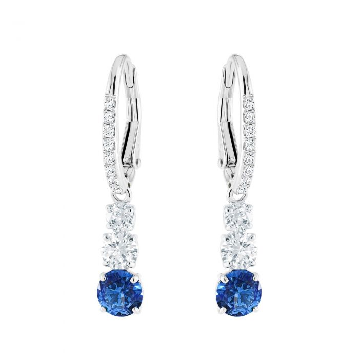 Swarovski Crystal Attract Trilogy Blue Rhodium Plated Drop Earrings