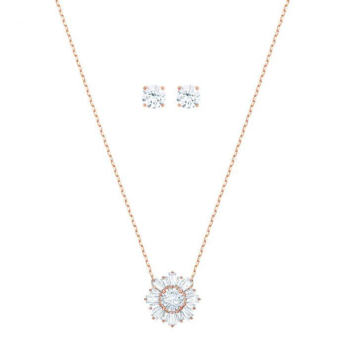 Swarovski Crystal Clear Sunshine Necklace And Earring Set