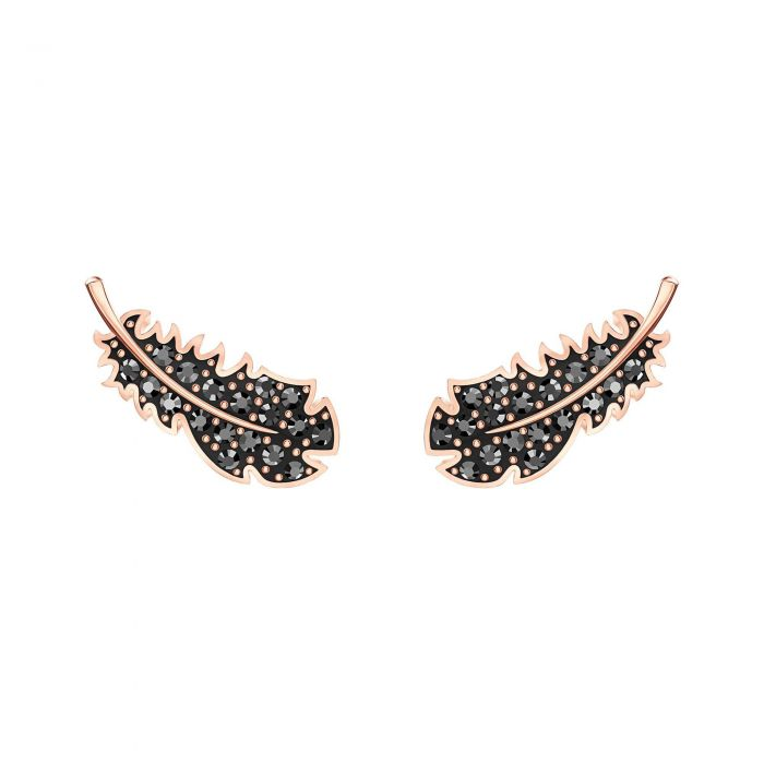 Swarovski Crystal Black Rose Gold Tone Feather Earrings