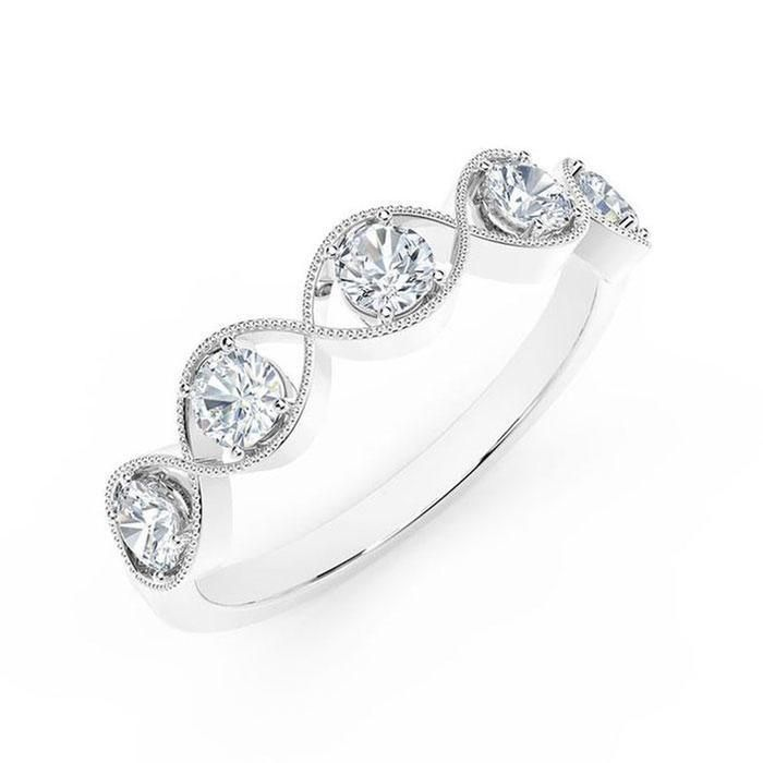 85fa9519cb1ab The Forevermark Tribute Collection White Gold Braided Five-Stone Ring 1/2ctw
