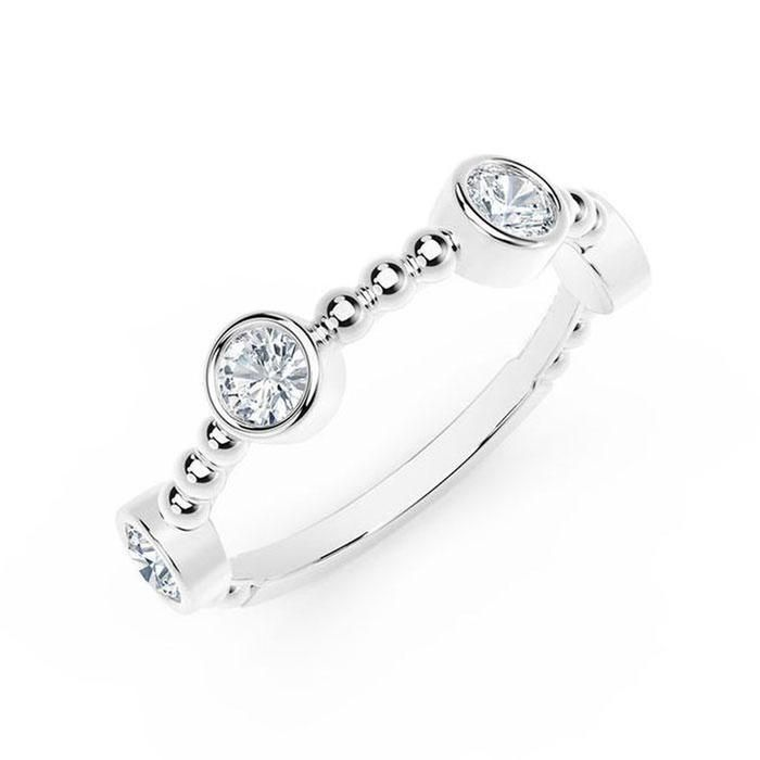 f0096442bd2fd The Forevermark Tribute Collection White Gold Station Bezel Ring 1/3ctw