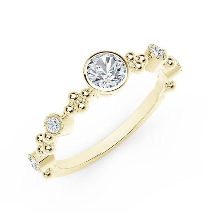 709e796c4021a The Forevermark Tribute Collection Yellow Gold Feminine Ring 1/3ctw