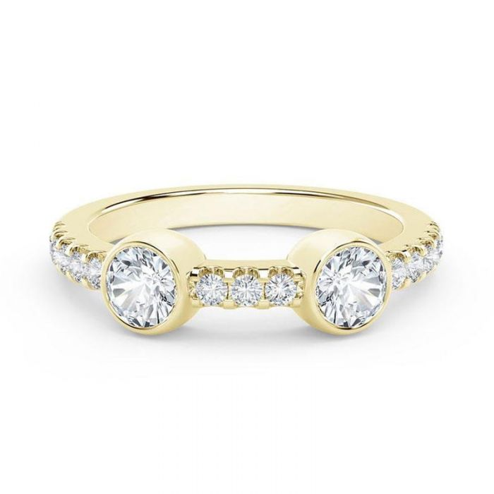 04d50a8bb7a4d The Forevermark Tribute Collection Yellow Gold Two-Stone Ring 3/8ctw ...