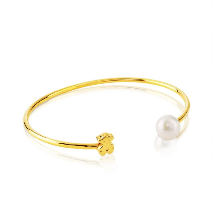 e247d1a20 TOUS 18k Yellow Gold Sweet Dolls Bear and Fresh Water Cultured Pearl Cuff  Bracelet | REEDS Jewelers