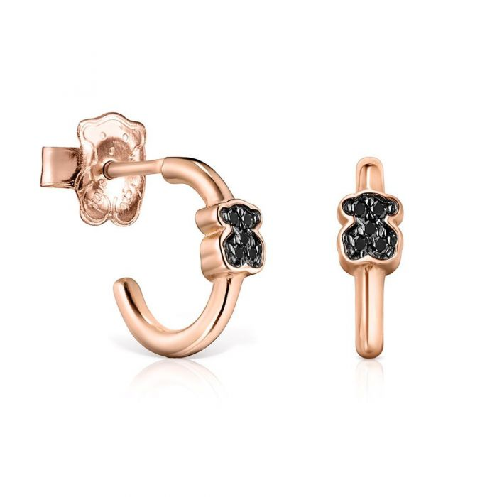 af064d293e172 TOUS Motif Black Spinel Rose Gold-Plated Earrings