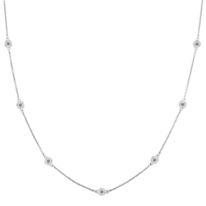 92c15776dfdd7 White Gold Bezel Set Diamonds By The Yard Necklace 1/4ctw