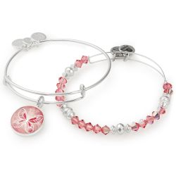 Alex and Ani April Limited Edition Butterfly Art Infusion Set of Two Bangle Bracelets - Shiny Silver Finish