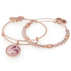 Alex and Ani May Limited Edition Love Art Infusion Set of Two Bangle Bracelets - Shiny Rose Gold Finish