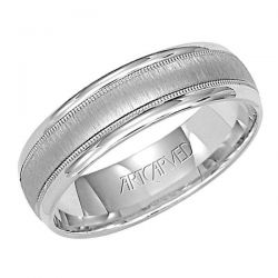 ArtCarved Engraved White Gold Comfort Fit Band 6mm