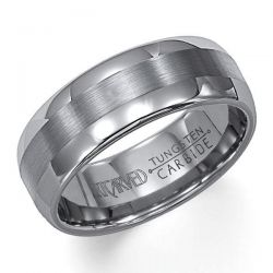 ArtCarved Grey Tungsten Carbide Comfort Fit Band 8mm
