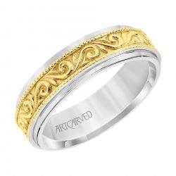 ArtCarved Paisley Pattern Two-Tone White and Yellow Gold Comfort Fit Wedding Band