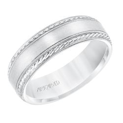 ArtCarved Rope and Milgrain Detail Satin Finish White Gold Comfort Fit Wedding Band 6.5mm