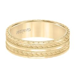 ArtCarved Rope and Milgrain Detail Yellow Gold Comfort Fit Wedding Band 6.5mm