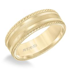 ArtCarved Rope and Milgrain Detail Yellow Gold Comfort Fit Wedding Band 7mm