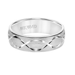 ArtCarved Swiss Cut Infinity Design Center White Gold Comfort Fit Wedding Band