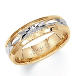 ArtCarved Two-Tone Comfort Fit Carved Band 6mm