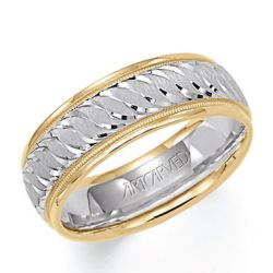 ArtCarved Two-Tone Comfort Fit Carved Band 7mm
