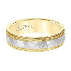 ArtCarved Two-Tone Yellow and White Gold Comfort Fit Wedding Band 6mm