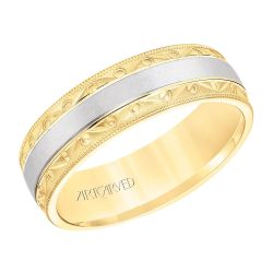 ArtCarved Vintage Textural Design Two Tone Yellow and White Gold Comfort Fit Wedding Band 6.5mm
