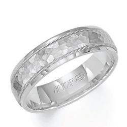 ArtCarved White Gold Comfort Fit Carved Band 6mm