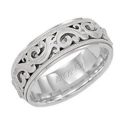 ArtCarved White Gold Comfort Fit Scroll Design Band 7.5mm