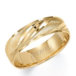 ArtCarved Yellow Gold Comfort Fit Carved Band 6mm