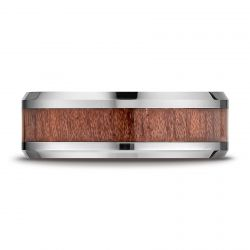 Benchmark Cobalt 8mm Comfort Fit Drop Beveled Rosewood Inlay Band