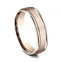 Benchmark Rose Gold 6mm Comfort Fit Satin Center Band
