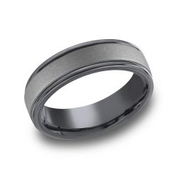 Benchmark Tantalum 7mm Comfort Fit Powder Coated Finish Round Edge Band