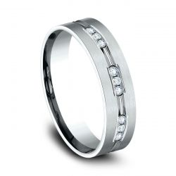 Benchmark White Gold 6mm Comfort Fit Channel Set Diamond Band 1/3ctw