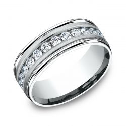 Benchmark White Gold Channel Set Diamond Comfort Fit Band 8mm 1ctw