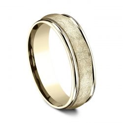 Benchmark Yellow Gold 6.5mm Comfort Fit Swirl Finish Center Band