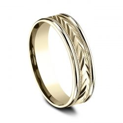 Benchmark Yellow Gold 6mm Comfort Fit Wheat Pattern Band