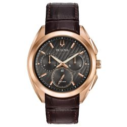 Bulova CURV Chronograph Brown Alligator Strap Watch 97A124