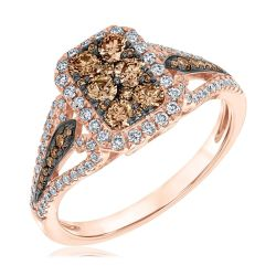 Champagne Diamond and Diamond Cluster Rose Gold Ring 1ctw