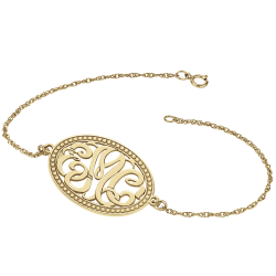 Classic Bordered Monogram Bracelet 18x25mm