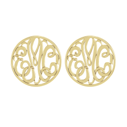 Classic Bordered Monogram Stud Earrings 20mm
