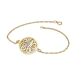 Classic Bordered Recessed Monogram Bracelet 20mm