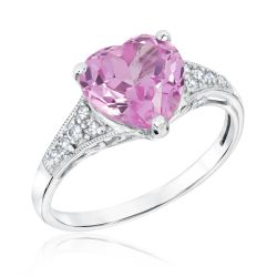 Created Pink and White Sapphire Heart Ring