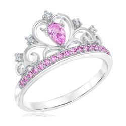 Created Pink and White Sapphire Tiara Princess Ring