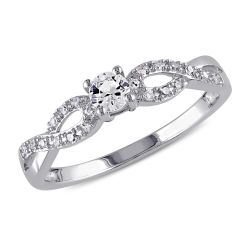 Created White Sapphire and Diamond Infinity Ring 1/10ctw