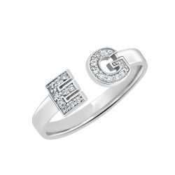 Diamond Double Initial Ring 6mm