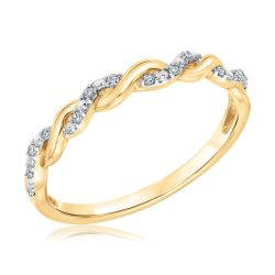 Diamond Twist Yellow Gold Stackable Ring 1/15ctw